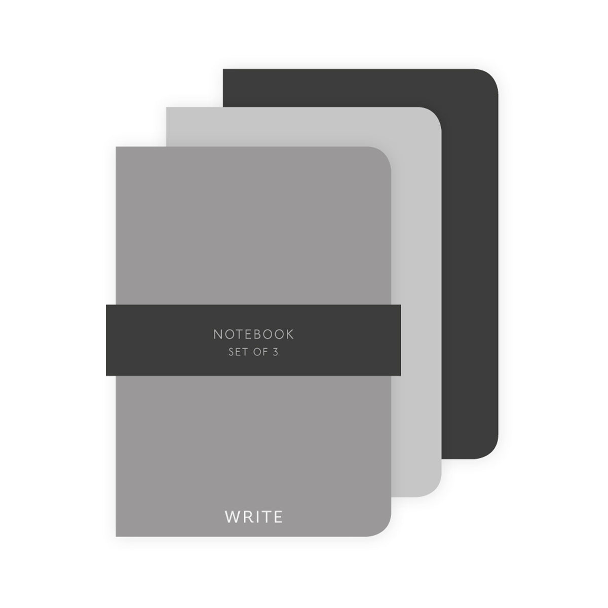 STYLISH & CLASSIC Set of 3 A5 Notebook - Grey