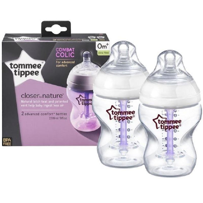 Tommee Tippee Closer to Nature Combat Colic 2x260ml Bottles- 0m+