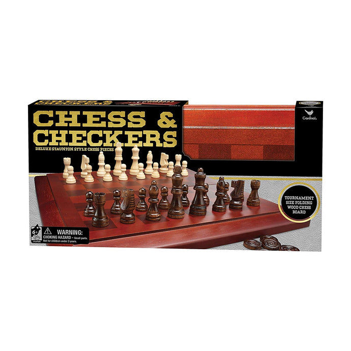 Cardinal Wooden Chess Cabinet with Checkers