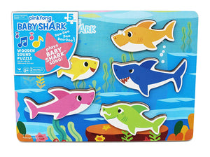 Cardinal Baby Shark- Wooden puzzle with shark sound