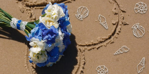 bridal bouquet in a marine style