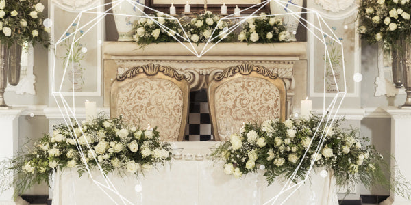 Banquet table decoration with flowers
