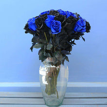 Load image into Gallery viewer, Black & Blue Roses Bouquet in a Vase