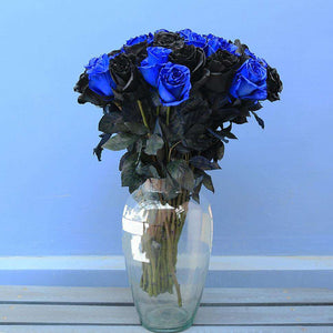 Black & Blue Roses Bouquet in a Vase