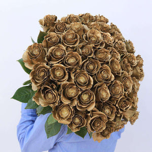 Golden Frost Rose Bouquet - Rosaholics