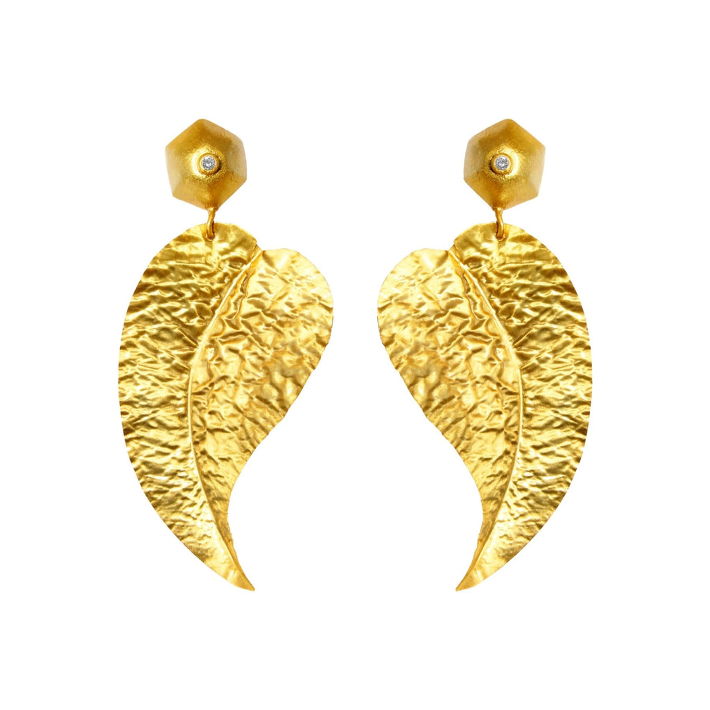 Gold Leaves Statement Earrings Edgy Abstract Leaf Contemporary Modern Stud Brushed Matte Perfect Gift for Her Anniversary Birthday Thank You