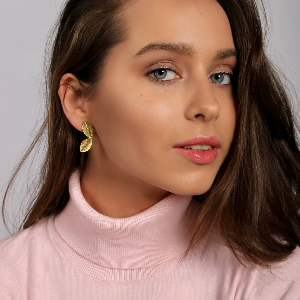 Two Golden Tiny Leaf Earrings