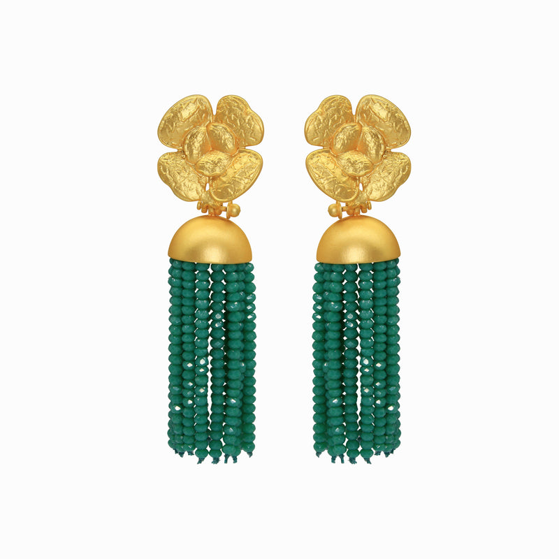 Flower Tassel Green Earrings