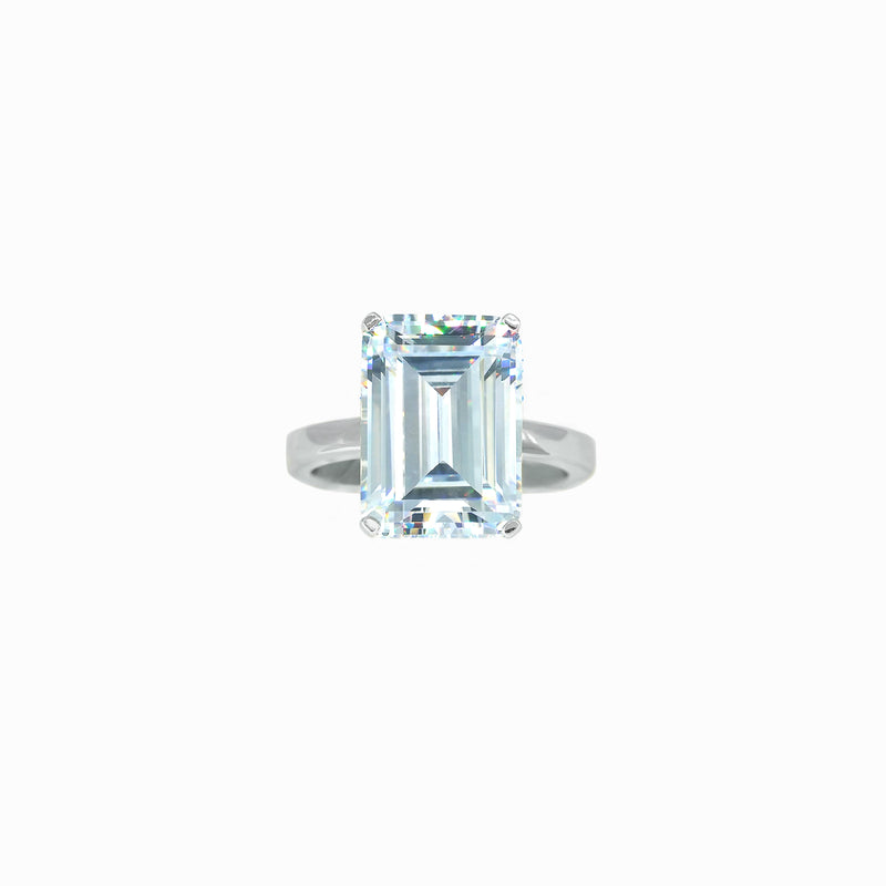 White Gemstone Emerald-Cut Silver Ring