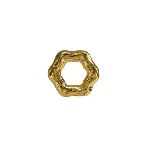 Gold Leaves Statement Ring Big Chunky Abstract Edgy Bold Leaf Modern Contemporary Unique Adjustable Ring Boho Gift for her Designer Inspired