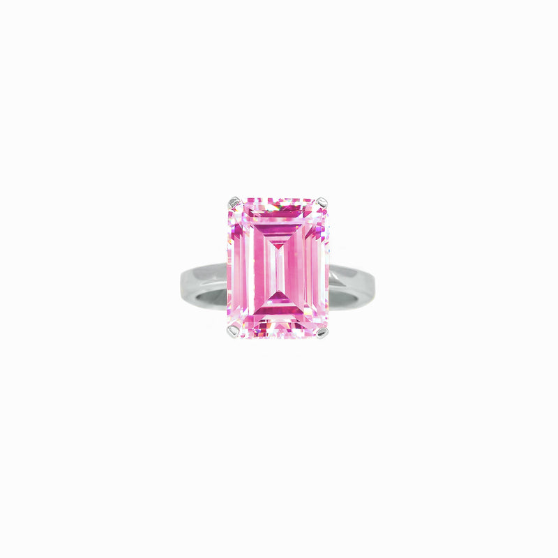 Pink Gemstone Emerald-Cut Silver Ring