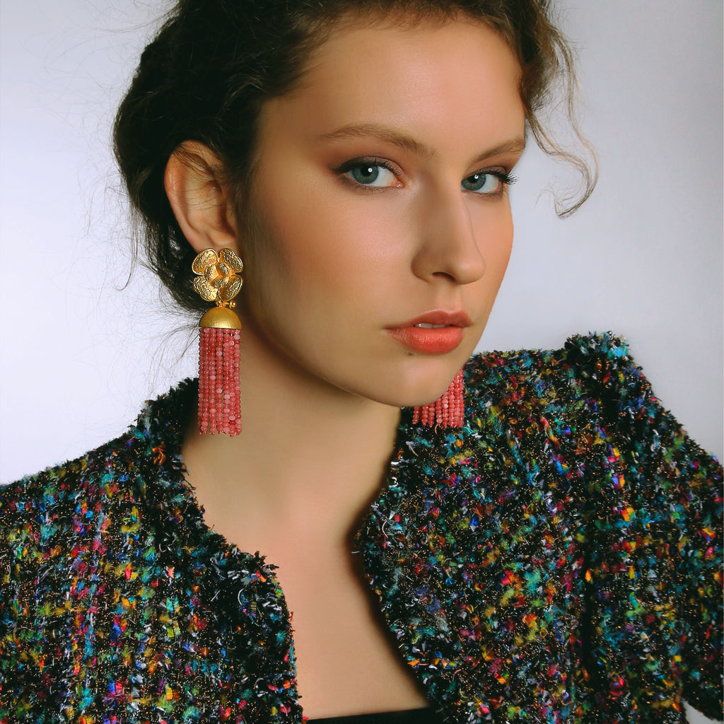 Flower Tassel Pink Earrings