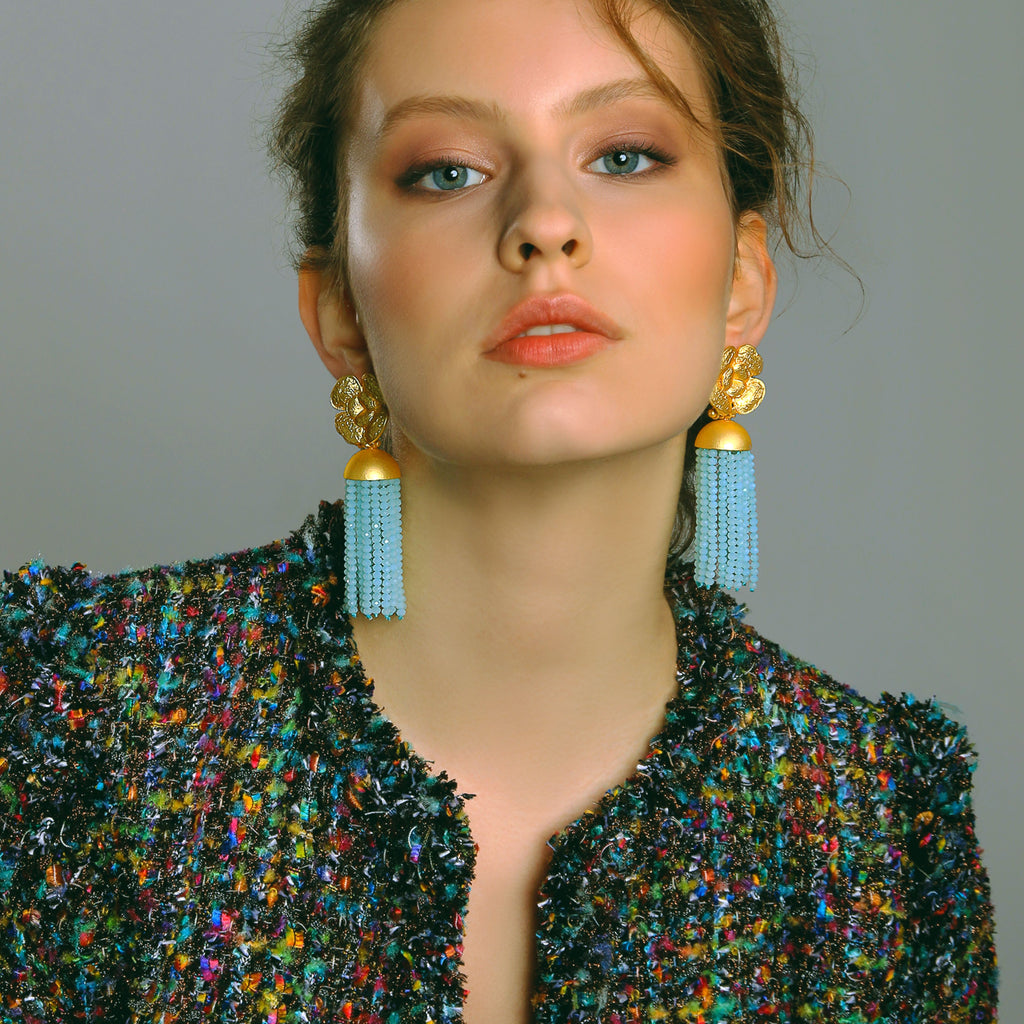 Flower Tassel Blue Earrings