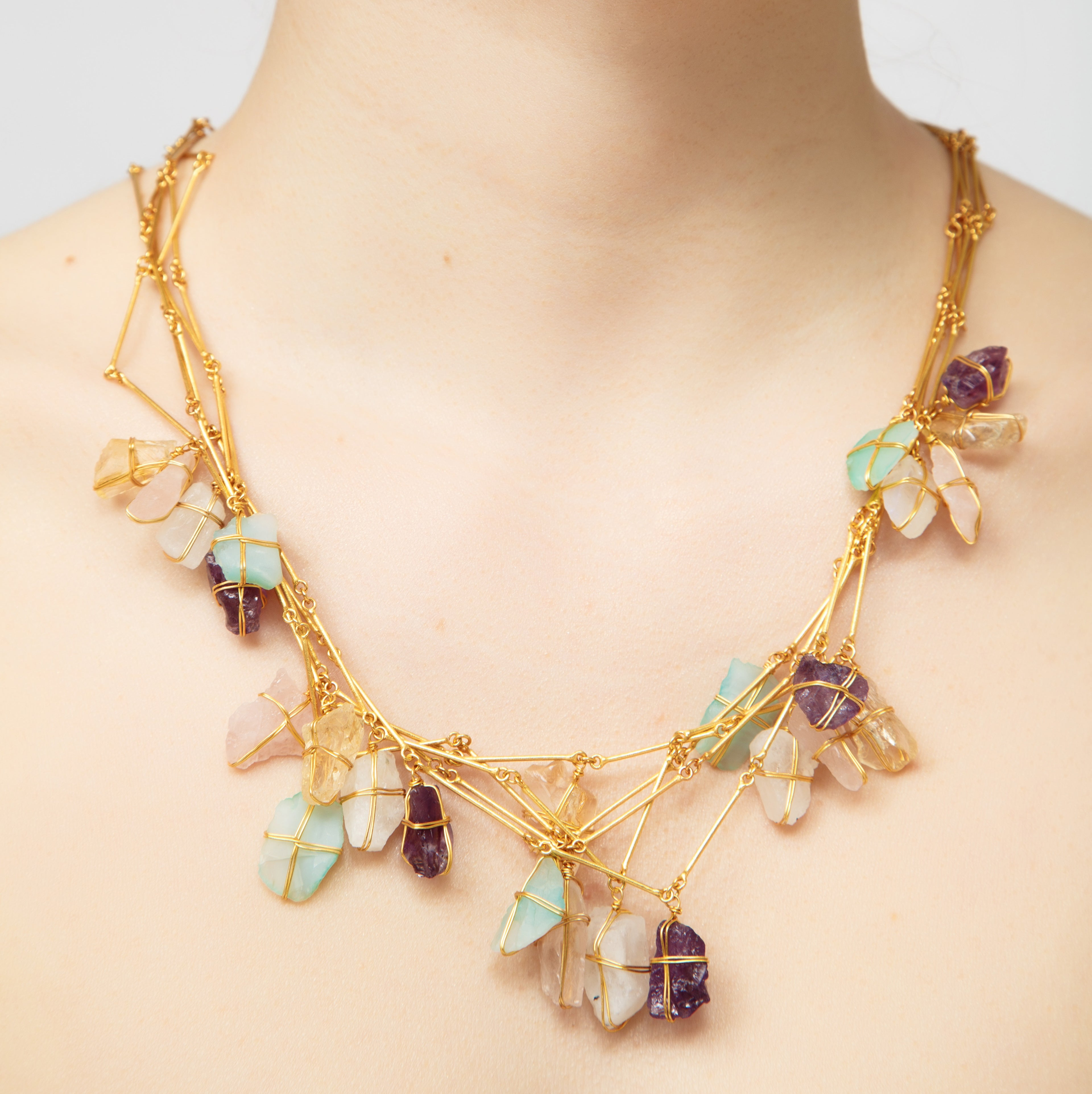 Dinari Jewels Greek Goddess Gold Necklace Braced with Natural Semi-Precious (Aquamarine, Purple Amethyst, Rose Quartz, Yellow Agate, White Quartz) Celebrity Style Trends dinari jewels handmade purple natural amethyst gemstone in 18k gold earring celebrity trend style cannes london paris new york fashion week jewelry jewellery