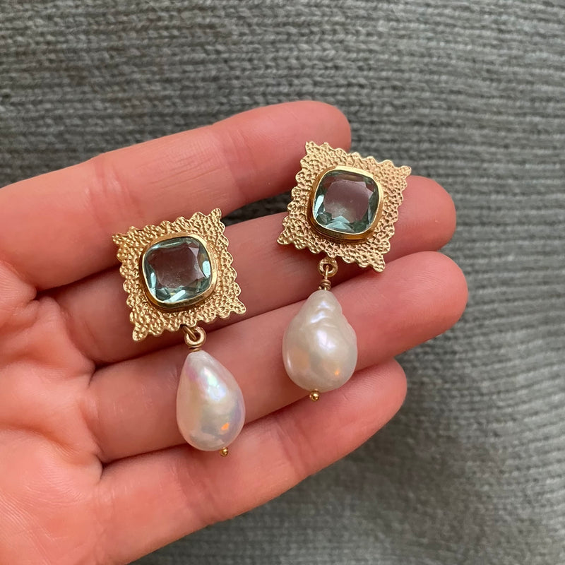 Baroque Pearl and Green Amethyst Earrings