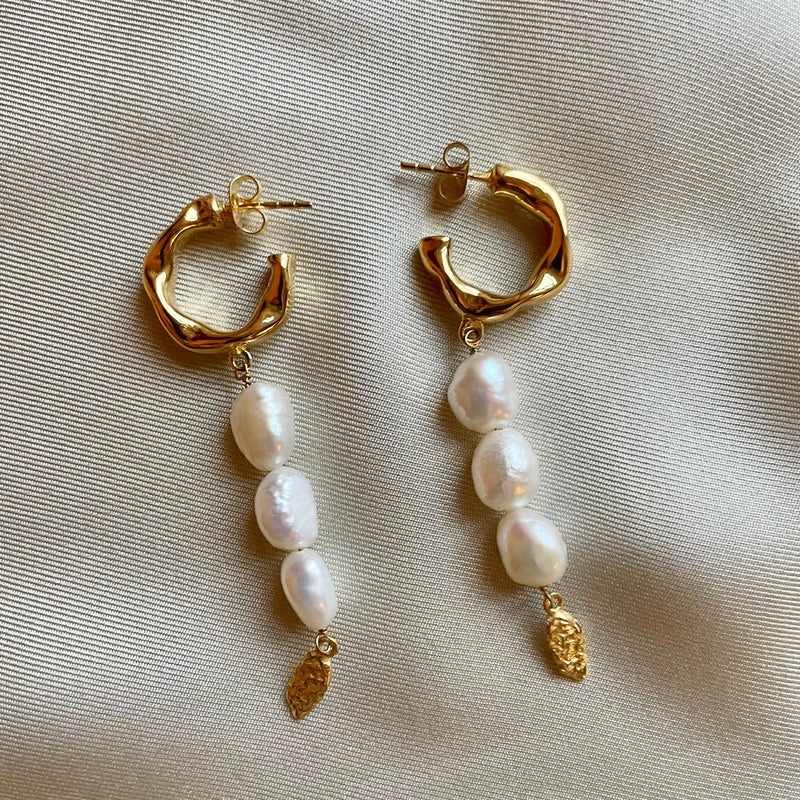 Long Baroque Pearl Charm Hoops