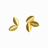 Gold Leaves Earrings Mismatched Leaf Statement Stud Brushed Matte Gold Floral Minimalist Contemporary Modern Perfect Gift For Her Birthday