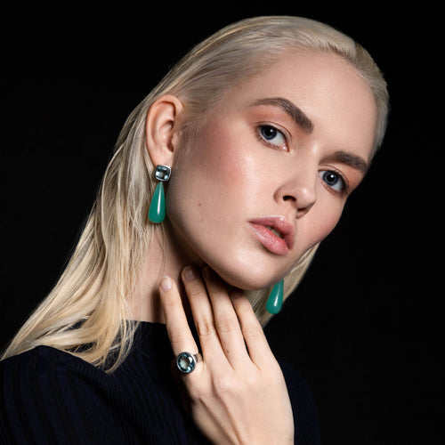 Long Gemstone Tear Shaped Drop Earrings. Blue Topaz Opal Big Statement Earrings. Big Long Blue Gemstone Earrings. Unique blue gemstone earrings. Lady Gaga Earrings Sapphire. Gucci earrings dior sapphire jewelry, chanel fine earrings jewelry. Paris Fashion week London Celebrity Style New York Celebrity Trend
