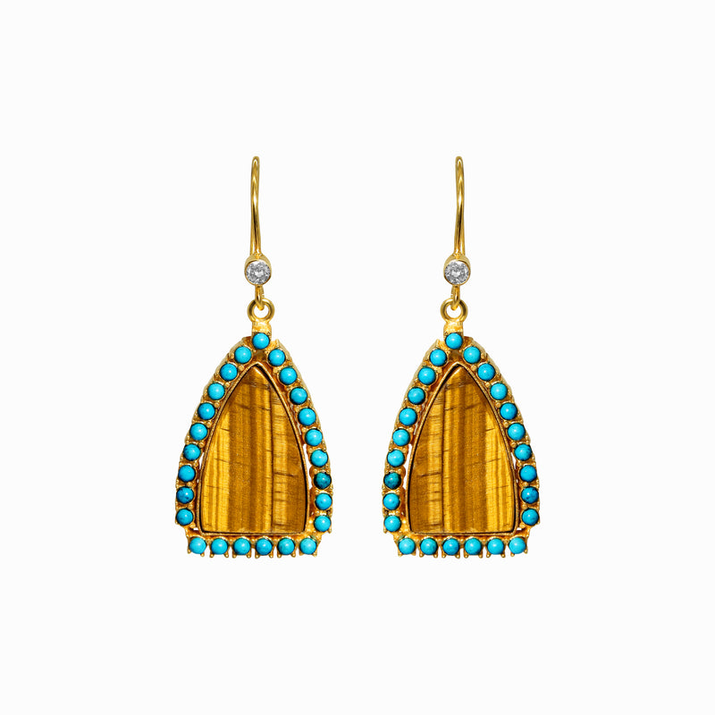 Tiger Eye Vermeil Gold Earrings