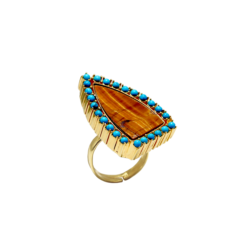 Tiger Eye Gold Vermeil Ring