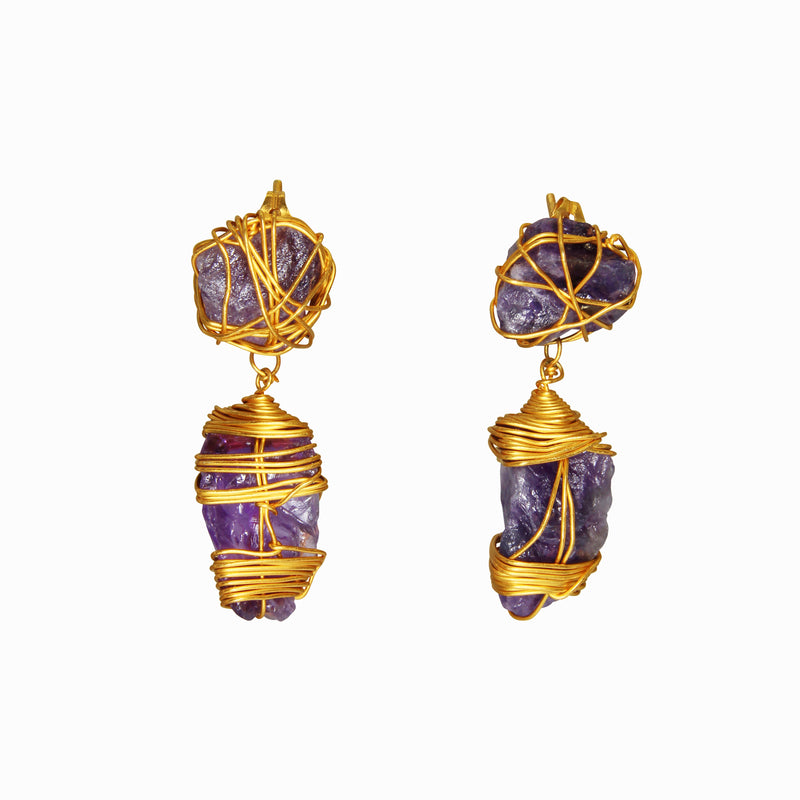 Dinari Jewels Handmade Gold Earrings Braced with Natural Amethyst (Semi-Precious Gemstone)  Celebrity Style Trend Cannes London Paris New York Fashion Week Vogue Harper's Bazaar Red Carpet Look Jewelry Jewellery