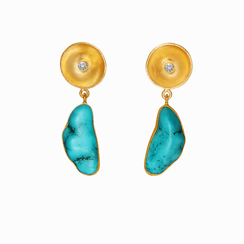 Dinari Jewels Gold Earrings Paved with Natural Turquoise (Semi Precious Gemstone) and Diamond dinari jewels handmade blue natural agate gemstone in 18k gold earring   Celebrity Style Trend Cannes London Paris New York Fashion Week Vogue Harper's Bazaar Red Carpet Look Jewelry Jewellery