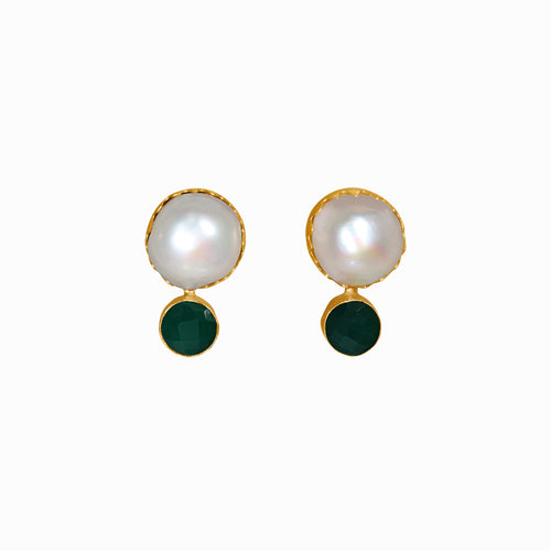 Dinari Jewels Handmade Gold Earrings Paved with Natural Pearl and Aquamarine (Semi-Precious Gemstone)  Celebrity Style Trend Cannes London Paris New York Fashion Week Vogue Harper's Bazaar Red Carpet Look Jewelry Jewellery Statement