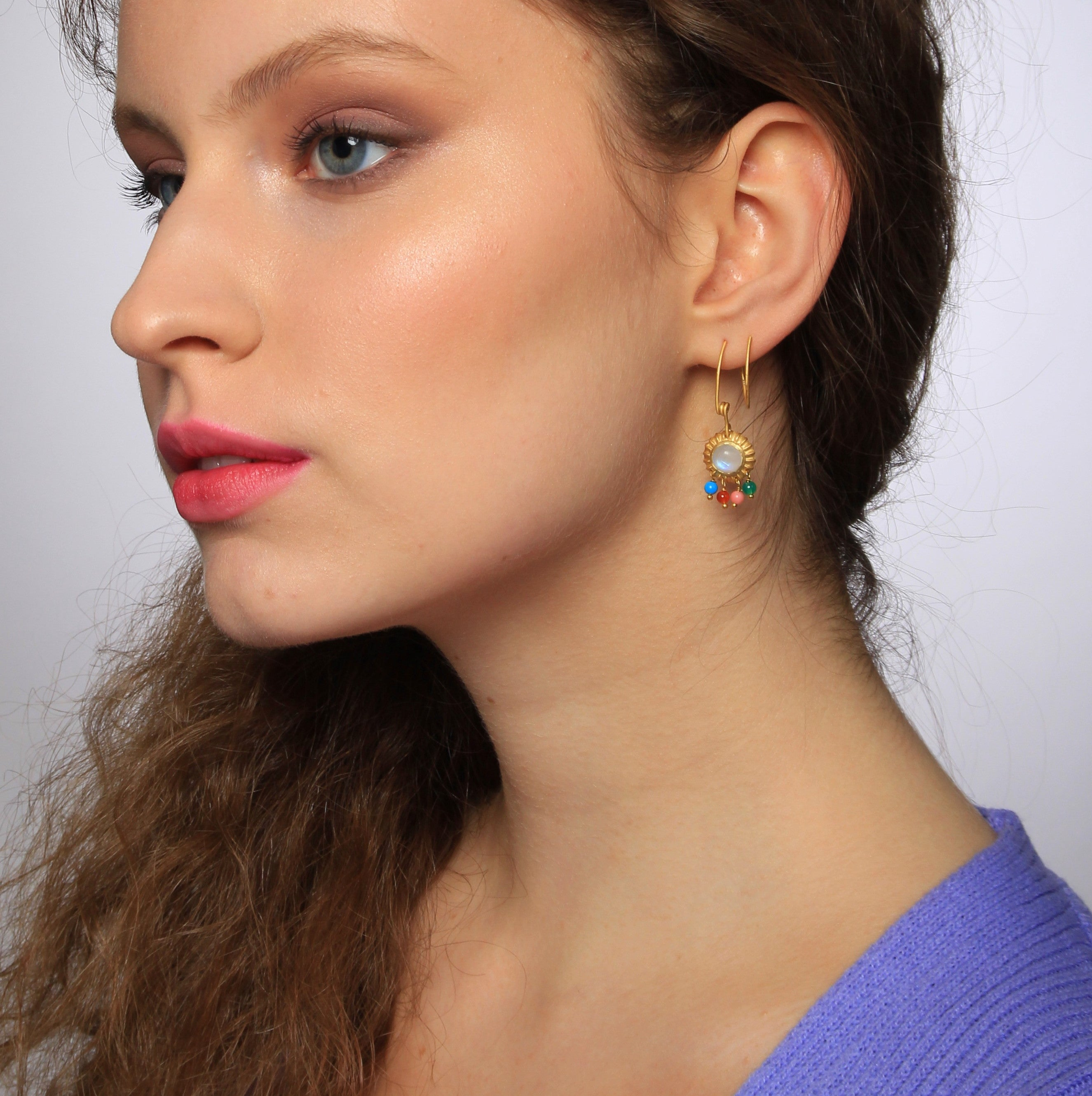 Moonstone Spiral Earrings