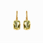 Cushion Green Amethyst Gold Earrings