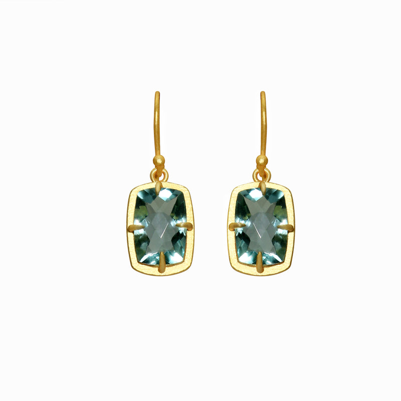 Cushion Topaz Gold Earrings