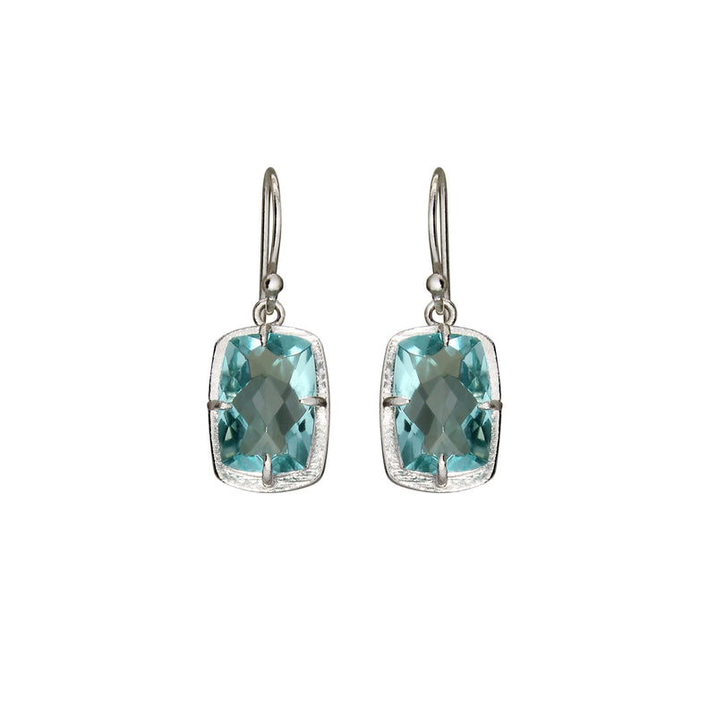 Cushion Topaz Silver Earrings