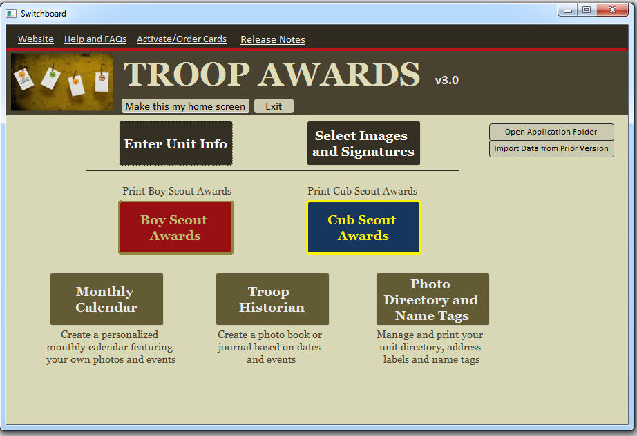 Troop Awards Software