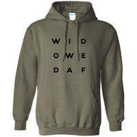 Widowed AF Letter Style Heavy Blend Hooded Sweatshirt