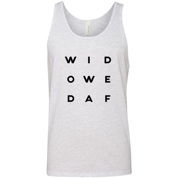 """Widowed AF "" Letter Style Unisex Jersey Tank"