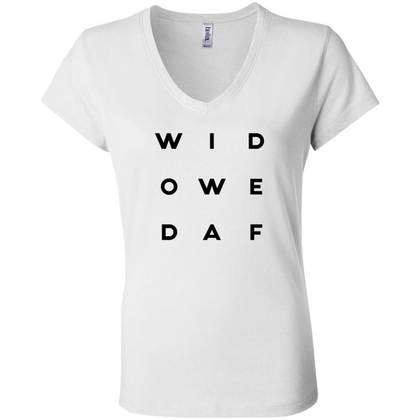 Widowed AF Letter Style Bella + Canvas Women's Short Sleeve Jersey V-Neck Tee