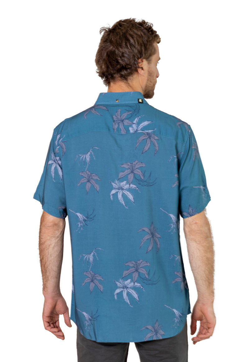 Camisa MC Hibisco Azul
