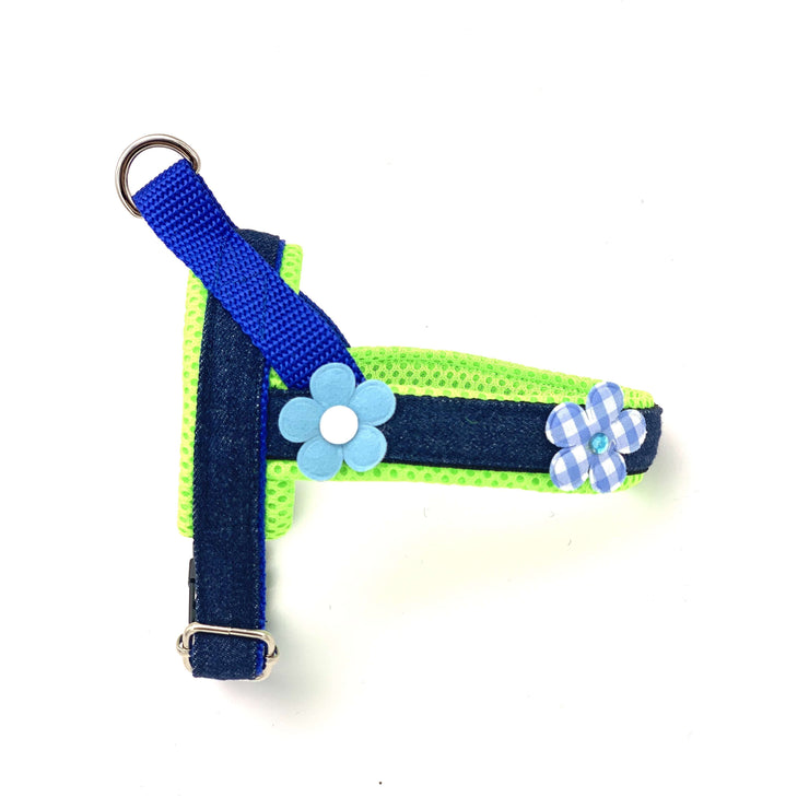 3D neon & blue floral denim dog harness