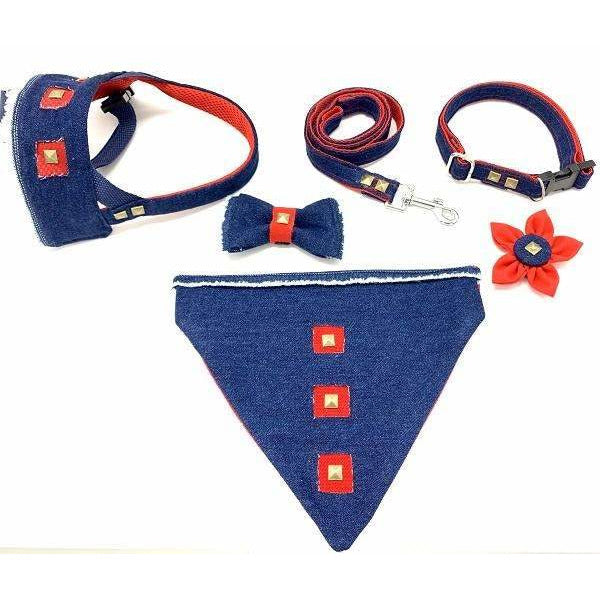 Frayed denim & red dog matching products with bronze studs - Puccissime Pet Couture