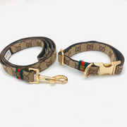 Luxury monogram Gucci dog collar and leash set with metal gold buckle