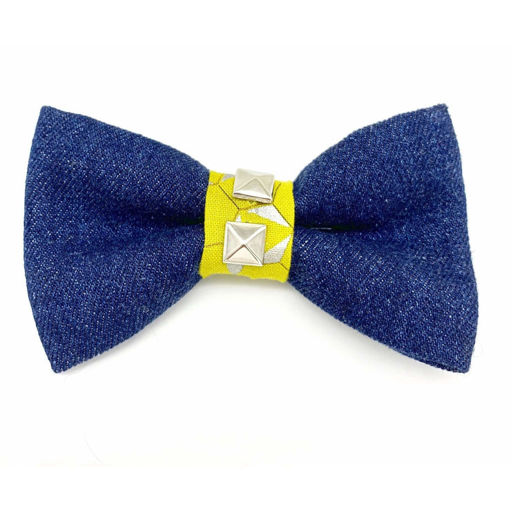 Mustard honeycomb frayed denim dog bow tie - Puccissime pet couture