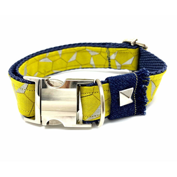 Mustard honeycomb frayed denim dog collar - Puccissime pet couture