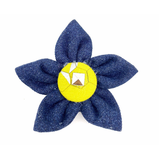 Mustard honeycomb frayed denim dog collar flower - Puccissime pet couture