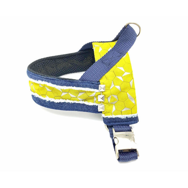 Mustard honeycomb frayed denim dog harness with silver metal buckle - Puccissime pet couture