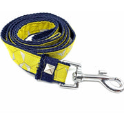 Mustard honeycomb frayed denim dog leash - Puccissime pet couture