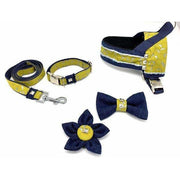 Mustard honeycomb frayed denim dog matching set - Puccissime pet couture
