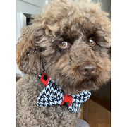 Toy poodle in luxury posh designer unique Red houndstooth dog collar and bow tie set - Silver metal buckle - red leather ribbon