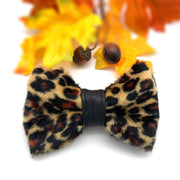 Leopard print dog bow tie with leather centre