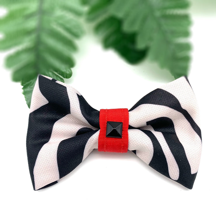 zebra print dog bow tie with red centre
