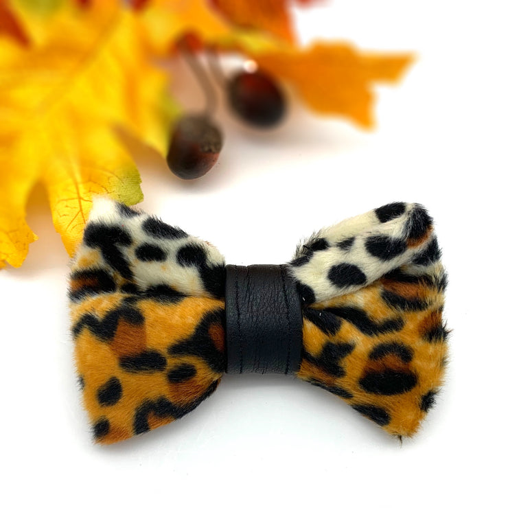 Snow leopard animal print with leather bow tie- Dropship