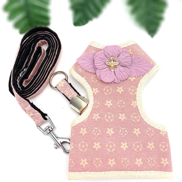 Louis Vuitton style Baby pink harness & leash set - Puccissime pet couture
